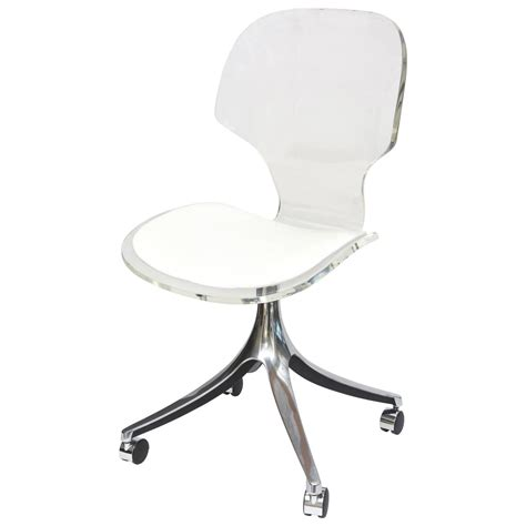 White Vanity Chairs by Vintage Lucite Chrome White Vinyl Desk Vanity Chair At 1stdibs