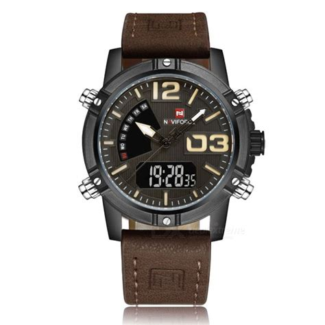 Naviforce 9095 Original 1 naviforce 9095 s sports leather wrist quartz brown free shipping dealextreme