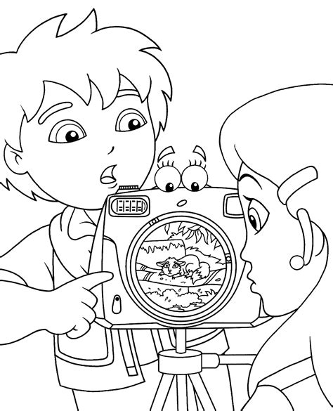go diego coloring pages for kids with camera printable