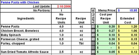 restaurant menu costing template recipe costing template besto