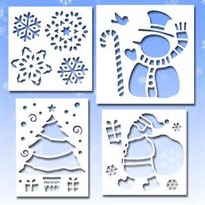 4 christmas santa snowman plastic window snow stencils ebay
