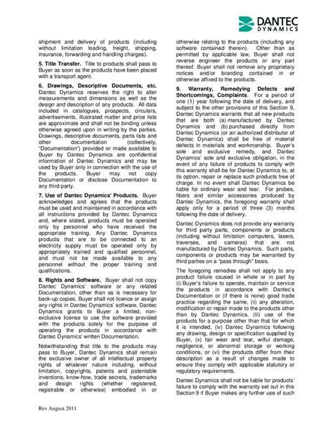 UK Terms - Dantec Dynamics | Precision Measurement Systems