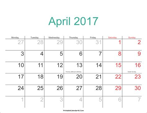 Easter 2017 Calendar April 2017 Calendar Printable With Holidays Pdf And Jpg