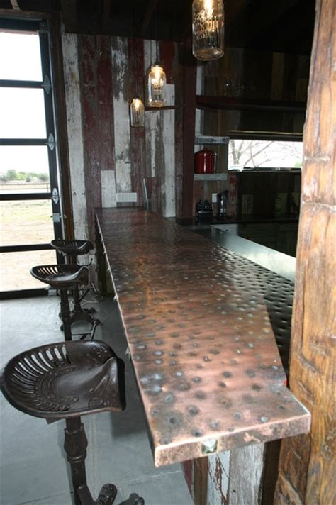 hammered copper bar top mlb man cave eclectic kitchen phoenix by red rock