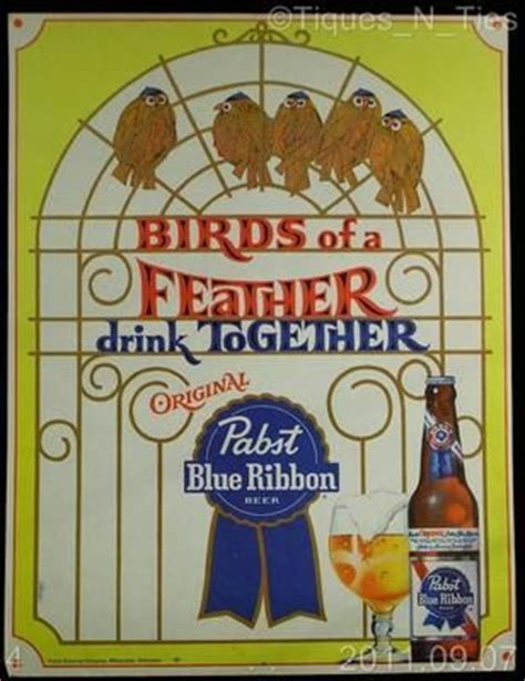 Birds Of A Feather Drink Together With This Girlie Flask by Vintage 1960s Retro Pabst Blue Ribbon Birds Of A