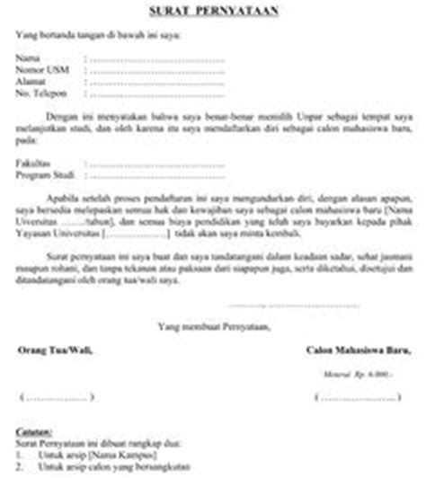 contoh surat pernyataan mahasiswa baru fontoh