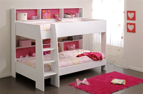 bunk bed with shelf headboard bedroom pink and white solid wood bunk bed for girl