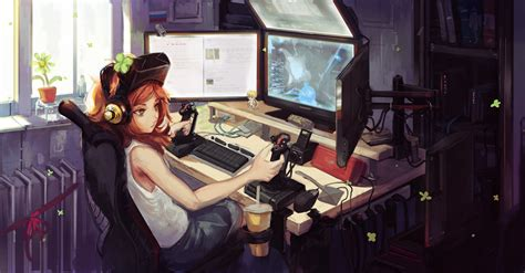anime girl gamer wallpaper anime gamer girl wallpapers wallpapersafari