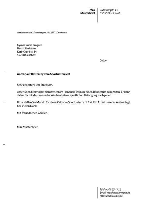 Brief Schreiben Antrag Stellen Drucke Selbst Briefvorlagen F 252 R Schulentschuldigungen Unterrichtsbefreiung Und