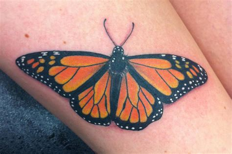 halo and horns tattoo designs monarch butterfly done at horns and halos design