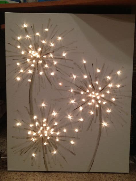 how to light artwork diy lighted dandelion canvas painting wall art pinterest