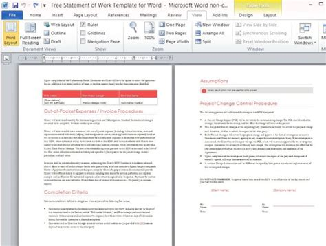professional document templates free statement of work template for word powerpoint