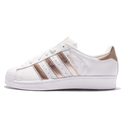 Original Made In Indonesia Adidas Superstar Rosegold adidas originals superstar w white gold classic shoes sneakers bb1428 ebay