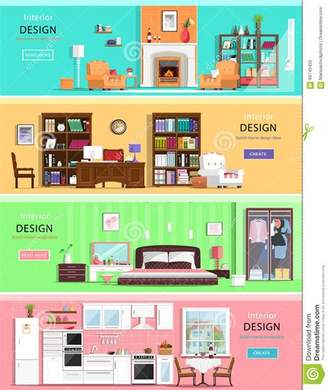 bedroom and living room furniture set of colorful vector interior design house rooms with