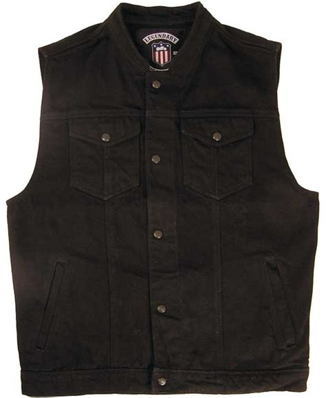 Denim Motorcycle Vest   Black Denim Vest   Legendary USA
