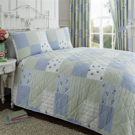 Patchwork Bedspreads Uk - blue green patchwork quilted bedspread tonys textiles
