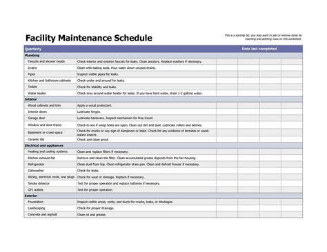 facility facility maintenance checklist template