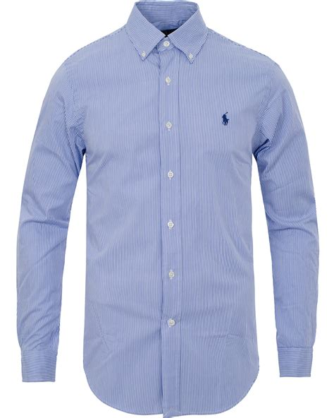 Ralph Blue White by Polo Ralph Slim Fit Shirt Poplin Blue White Hos