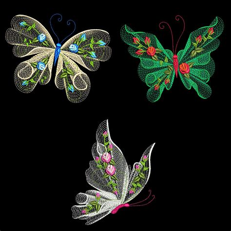 machine applique designs flutterby 1 30 machine embroidery designs azeb ebay