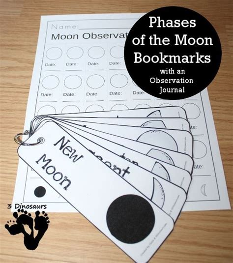 printable moon journal free printable phases of the moon bookmark and journal