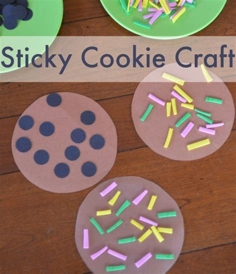 sticky cookie craft simple play ideas