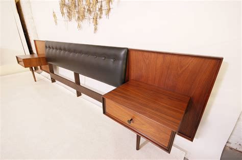 headboard with floating side tables stunning mid century modern king headboard with floating
