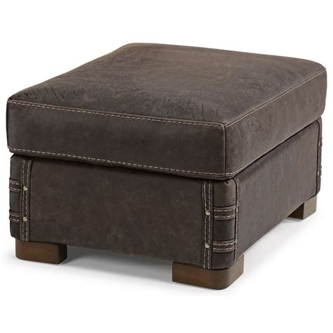 rustic leather ottoman flexsteel lomax rustic leather ottoman with exposed wood
