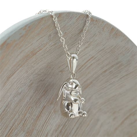 sterling silver lop eared rabbit necklace by hurleyburley