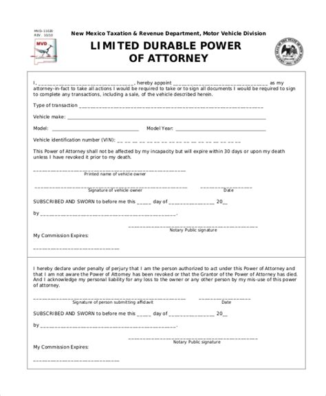 free durable power of attorney template sle durable power of attorney form 10 free documents