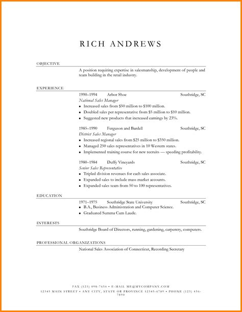 Simple Resume Sles In Word Resume Format Word Document Ledger Paper