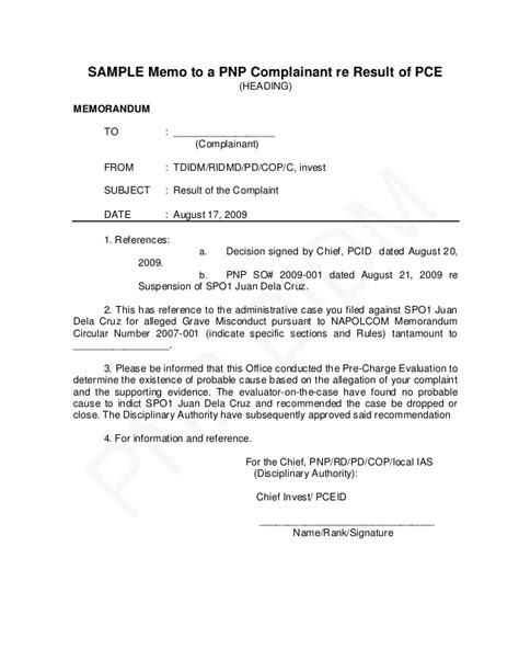 Recommendation Letter For Awol Employee Pnp Pre Charge Evaluation And Summary Hearing Guide