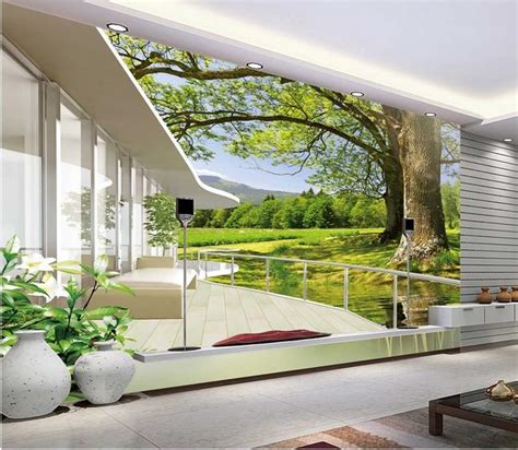 modern wall mural free shipping modern wall 3d murals wallpaper hd nature landscape 3d mural for tv sofa