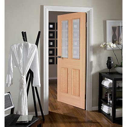 Homebase Interior Doors 2 Lite Glazed White Oak Door 762mm Wide