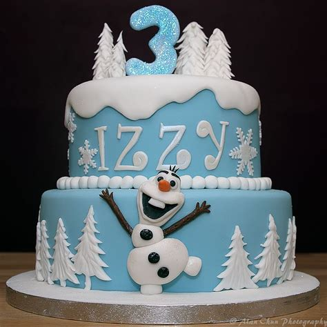 Handcrafted Cakes - frozen themed cake with handmade fondant olaf