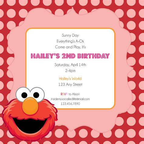 Elmo Printable Birthday Invitation Elmo Birthday Invitations Template Free