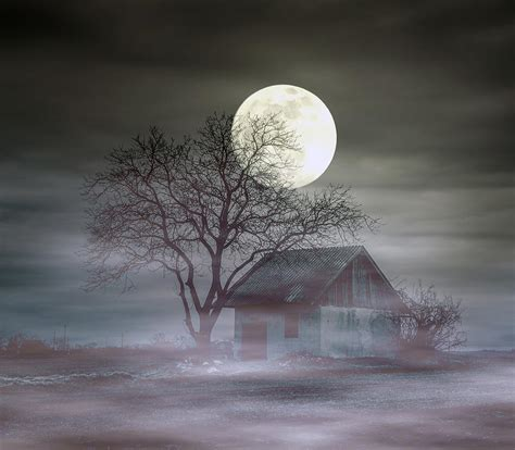 Moon In 2nd House by Spooky House And Moon Photograph By Balazs Kovacs
