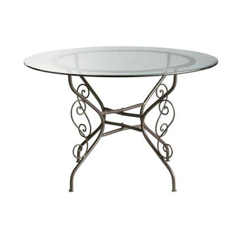 Glass Wrought Iron Dining Table Glass And Wrought Iron Dining Table D 120cm Toscane Maisons Du Monde