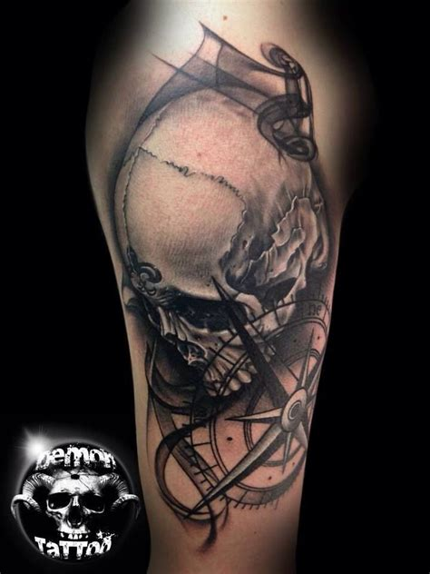 skull and compass tattoo tattoo pinterest compass