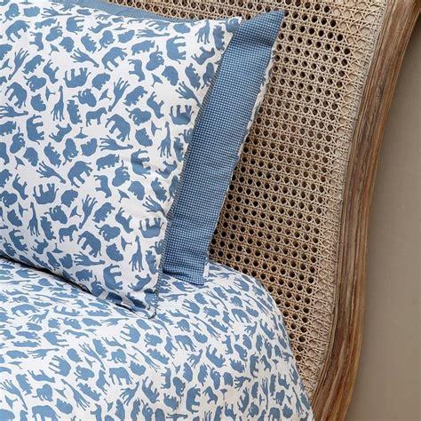Blue Single Duvet Cover safari blue single and cot duvet cover set by em lu