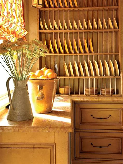 Pine Plate Racks For Kitchens by An Antique Pine Plate Rack Is Accented With Yellow Plates