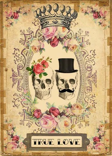 vintage tattoo couple vintage day of the dead j skull couple antique