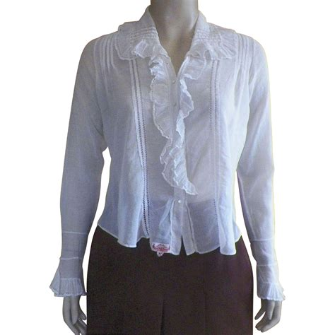 Handmade Eggshell Tosca Cotton Blouse edwardian made white cotton blouse waist with