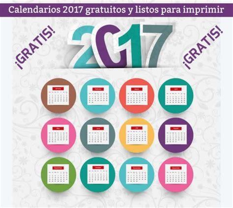 Calendario Gratis Calendarios 2017 Listos Para Descargar E Imprimir Gratis