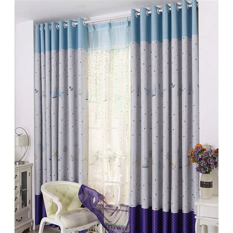 Blue Nursery Curtains Purple And Blue Polyester Pattern Thermal Blackout Nursery Curtains