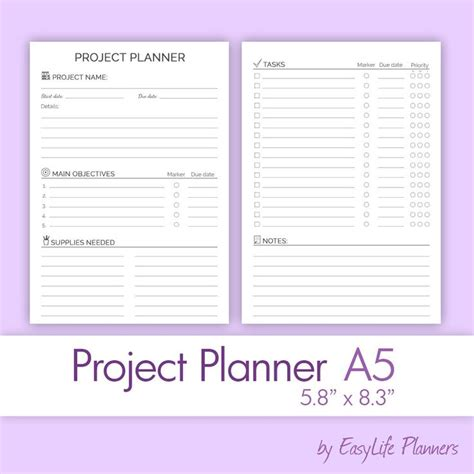 free printable planner a5 a5 project planner printable pdf filofax a5 inserts 5 83x8