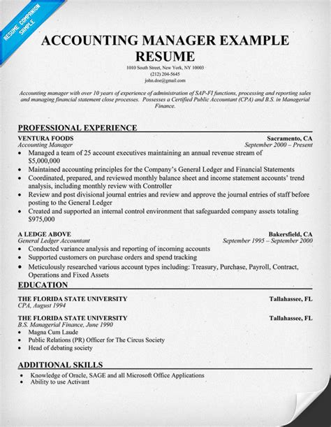Resume Template Accounting Manager accounting manager resume sle resume sles across