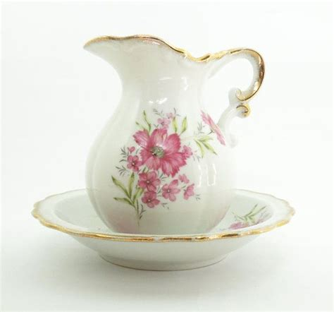 Flower Pitcher Set porcelain pitcher and wash basin bowl set with pink