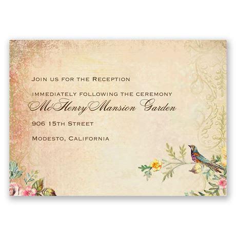 vintage birds reception card invitations by