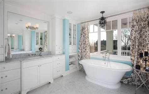 blue and white bathroom traditional decorating toile fabric add cool color and chic pattern to