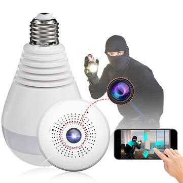 e27 360° panoramic 1080p ir camera light bulb wifi fisheye